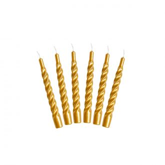 Set de 6 Bougies Twist Or