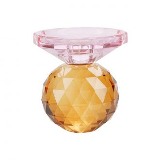Bougeoir Cristal Rose/Ambre