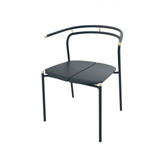 Chaise Novo Dining Noir & Or