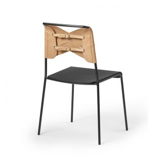 Torso Black & Natural Leather Chair