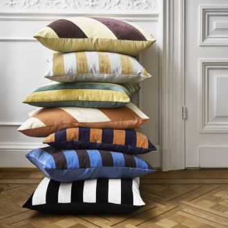 Coussin Striped Velours Vert / Moutarde