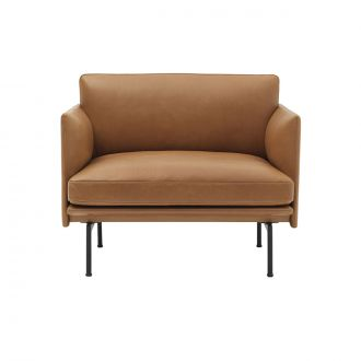 Fauteuil Outline Silk leather Cognac