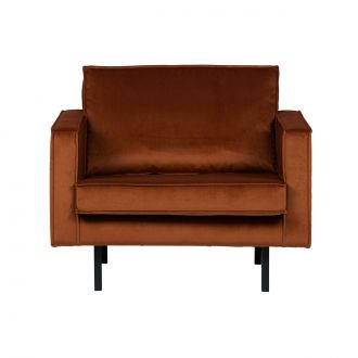 Fauteuil Rodeo Velours Rouille