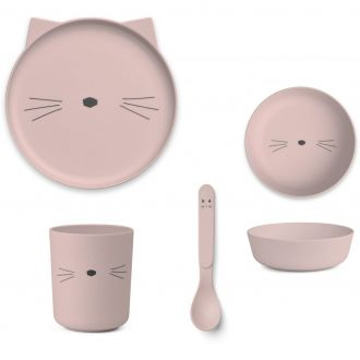 Set De Vaisselle Bamboo Chat Rose