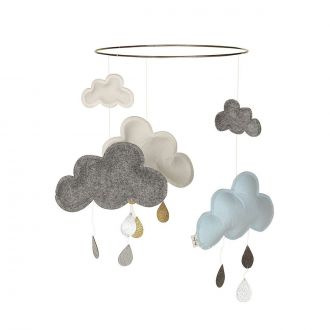 Mobile Nuage Blueberry Bleu/Gris/Blanc