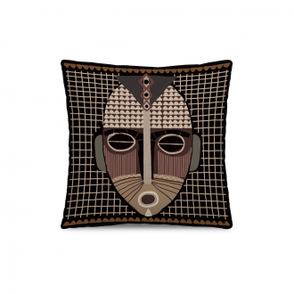 Coussin African Tribe Velours Beige / Rose