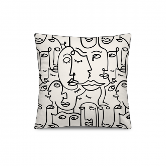 Coussin Personality Velours Blanc / Noir GM