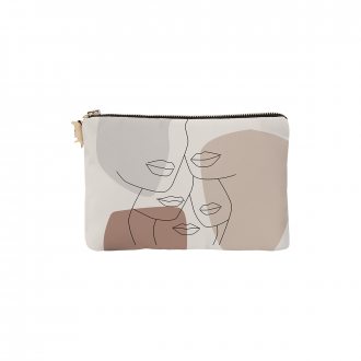 Pochette Personality Velours Gris / Rose XS
