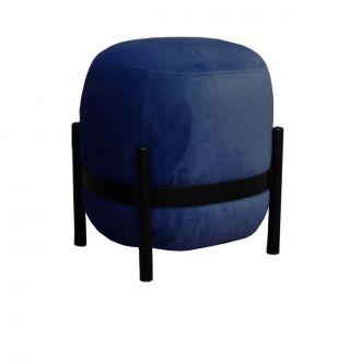 Vega Midnight Blue & Black Velvet Pouffe