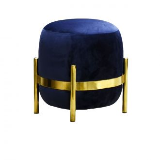 Vega Midnight Blue & Golden Velvet Pouffe