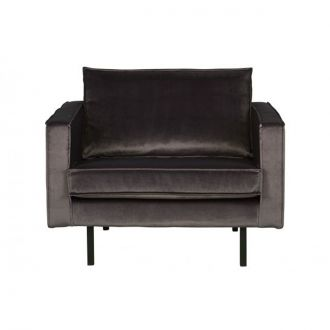 Fauteuil Rodeo Velours Anthracite