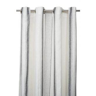 Linen Curtain - 140 x 280 - White / Granite