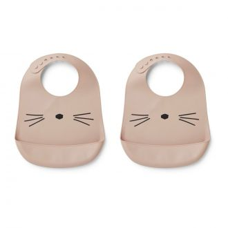 Set de 2 Bavoirs Tilda Chat Rose