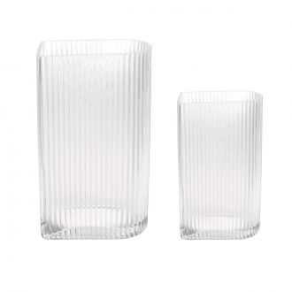 Set de 2 vases en relief en verre transparent