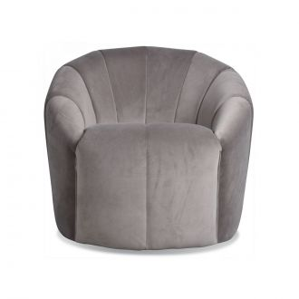 Fauteuil Sonia Velours Gris Taupe