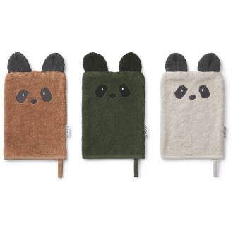 Gant de toilette Sylvester panda mix (lot de 3)