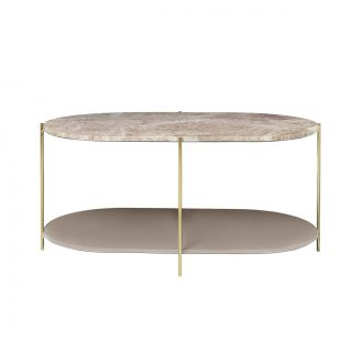 Table Siff Ovale Marbre Caramel/Laiton