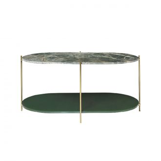 Table Siff Ovale Marbre Vert/Laiton