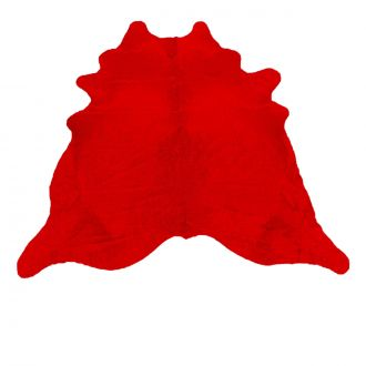 Red dyed calfskin rug