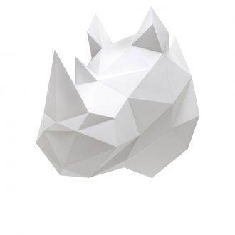 Origami Trophy - Rhinoceros - White