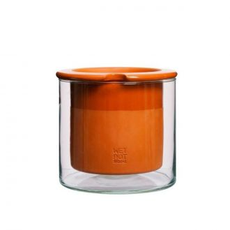 Pot Wet Terracotta/Verre S